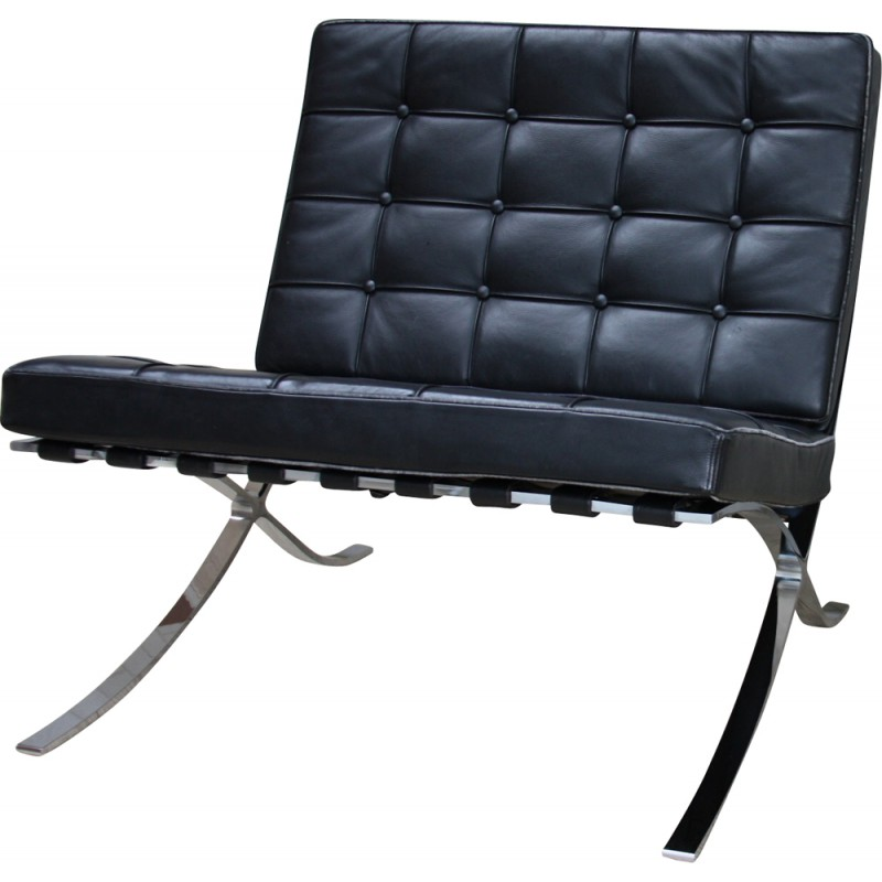 Barcelona Chair In Black Leather Ludwig Mies Van Der Rohe 1970s