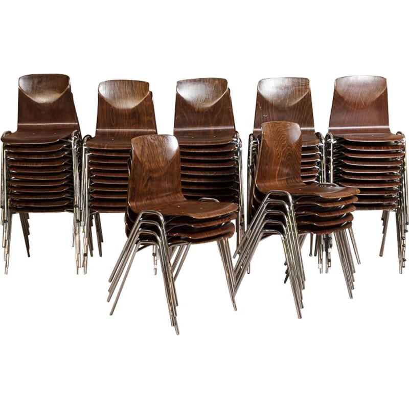 Lot of 65 vintage Adam Stegner Pagholz chairs in Pagwood, 1960