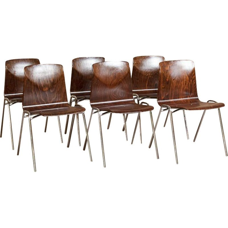 Set of 6 Vintage Chairs by Pagholz in Pagwood by Adam Stegner 1960