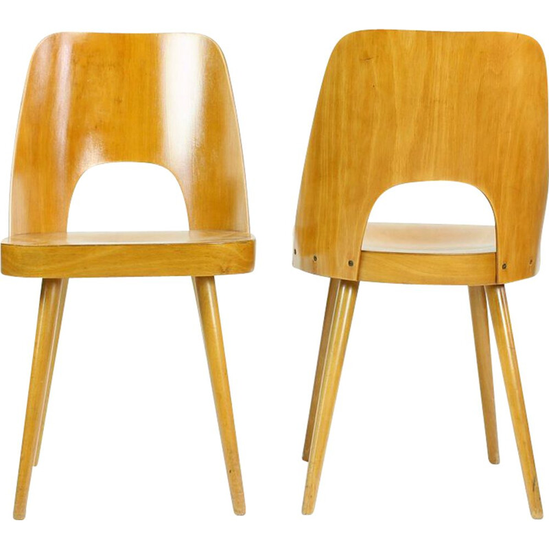 Pair of Mid Century Beech Chairs By Oswald Haerdtl For Ton, 1950