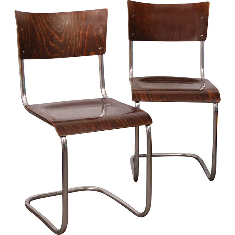 Pair of vintage chairs by Mart Stam for Kovona, 1940