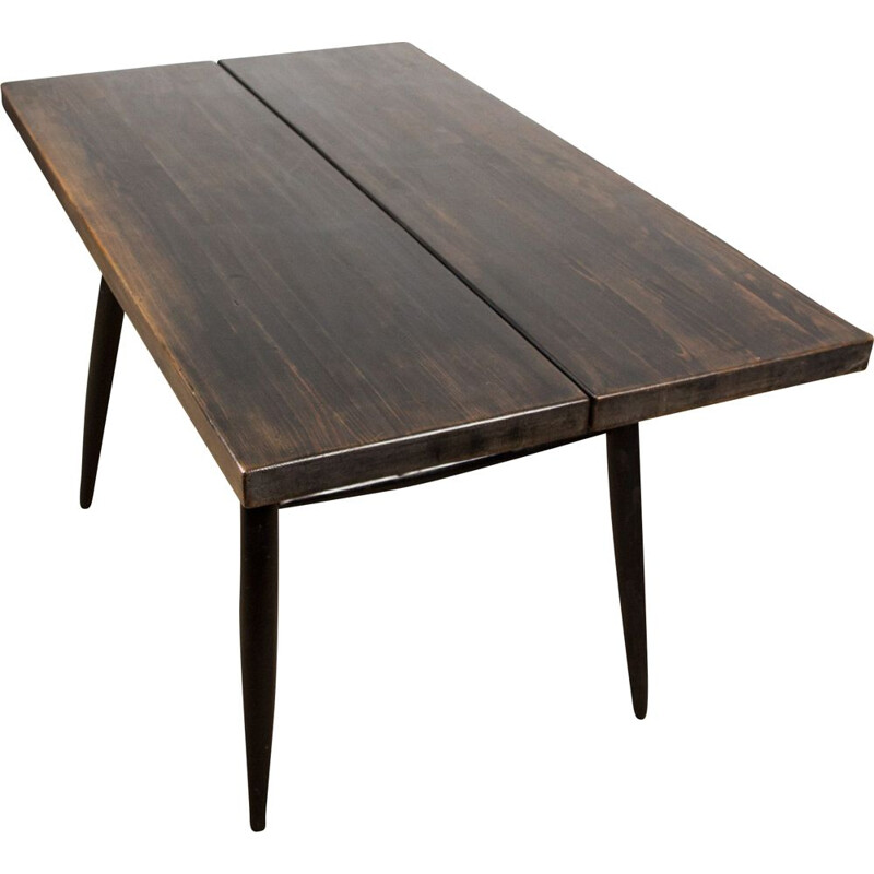 Vintage dining table in Beech stained by Ilmari Tapiovaraa for Laukaan Puu Scandinavia