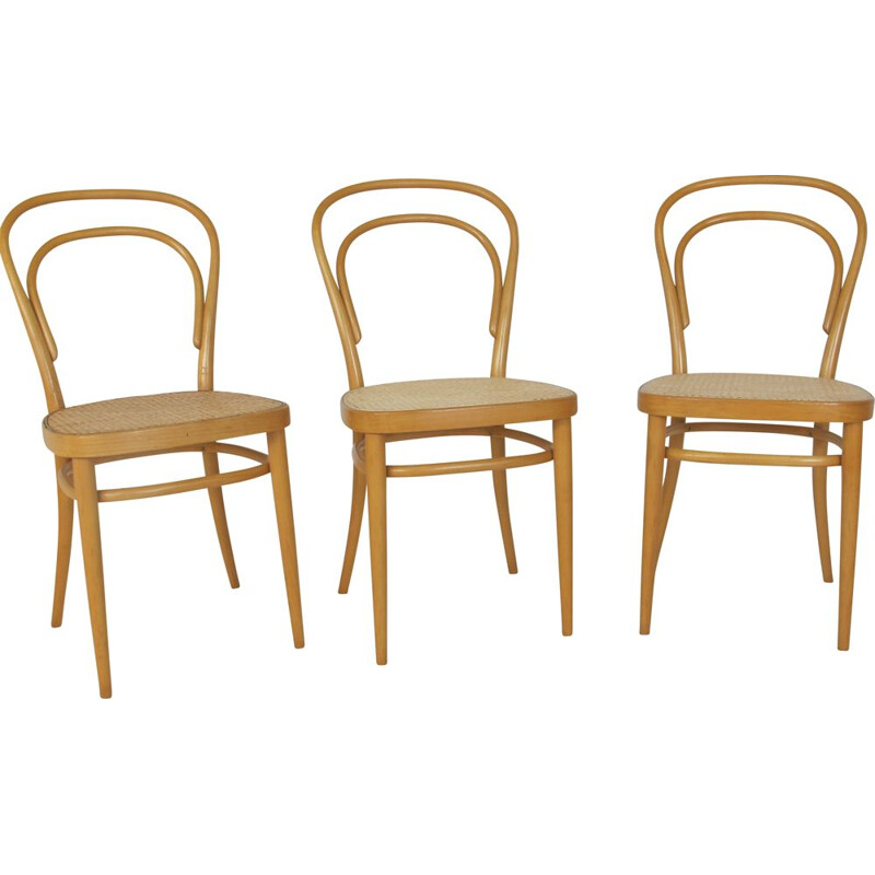 Set of 3 chairs Vintage Beech Nr. 14 Chair by Michael Thonet for Thonet, 1980s