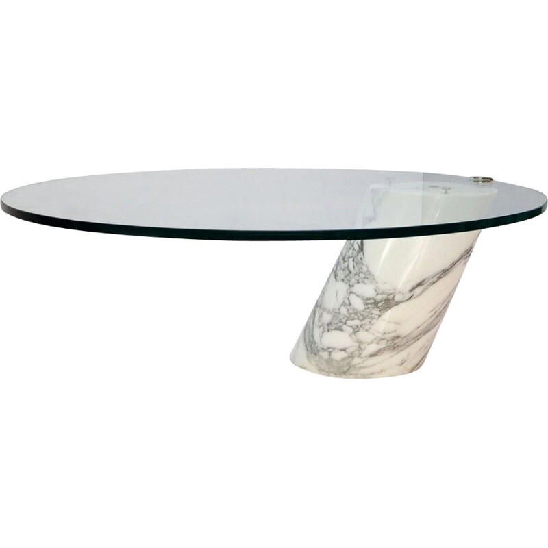 Vintage K1000 White Marble and Glass Coffee Table by Team Form for Ronald Schmitt, 1980