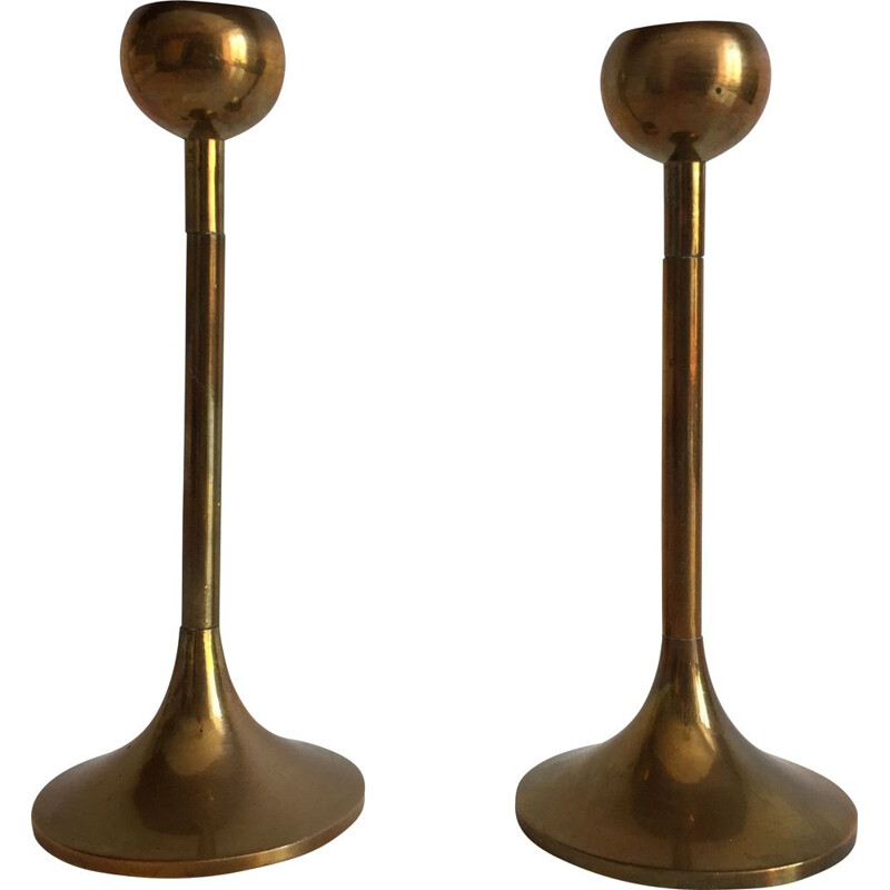 Pair of vintage Scandinavian brass candleholders