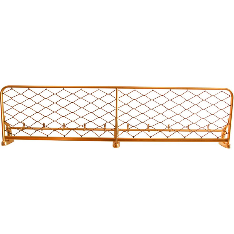 Vintage brass aluminium train coat and luggage rack, 1960s