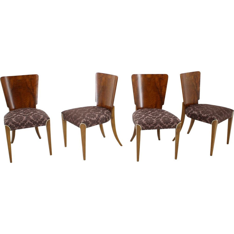 Set of 4 vintage Dining Chairs H-214 for UP Závody Jindrich Halabala Art Deco 1940s