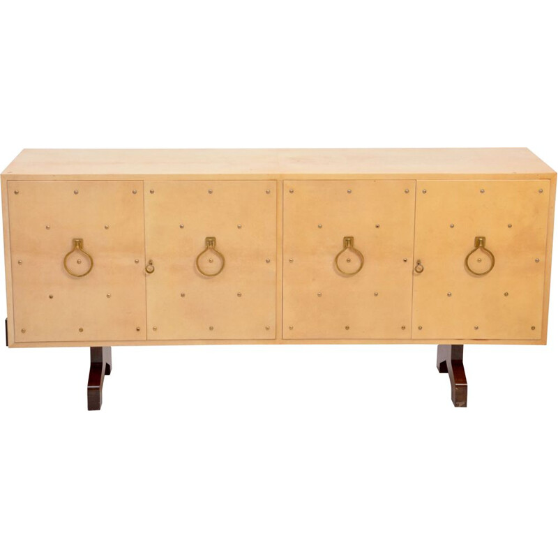 Mid-Century Sideboard in Beige Lacquered Goat Skin by Aldo Tura, Italy, 1970s