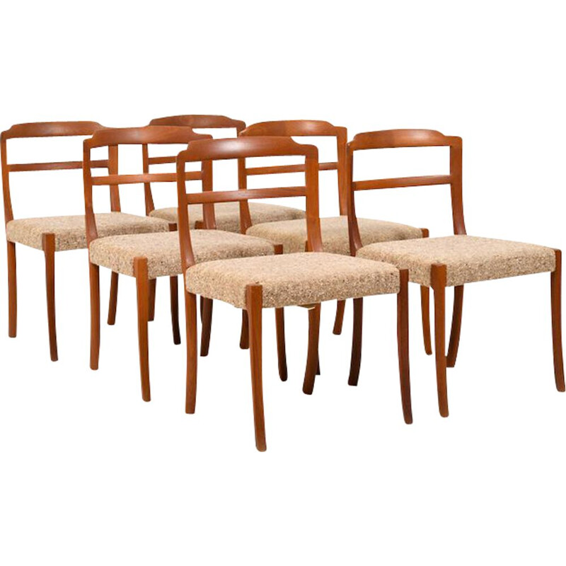 Set of 6 vintage Dining Chairs in Teak by Ole Wanscher for Cado 1970s
