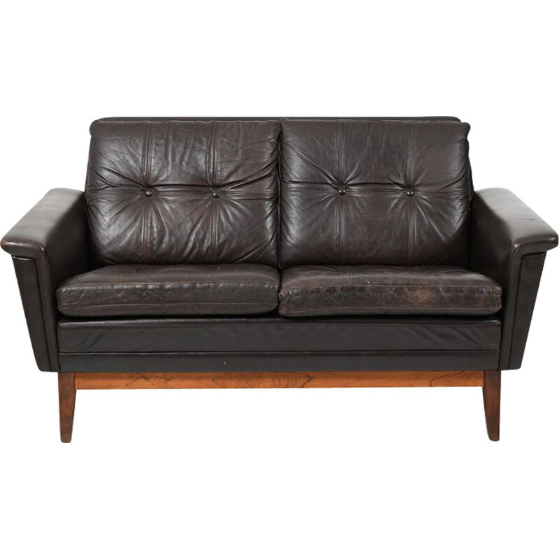Mid Century  Brown Leather 2-Seater Sofa Danish 1960s