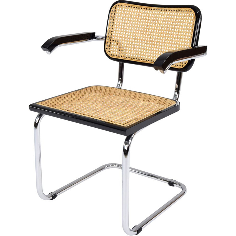 Mid-Century  B64 Cesca Chair with arms by Marcel Breuer, Italy 1970s