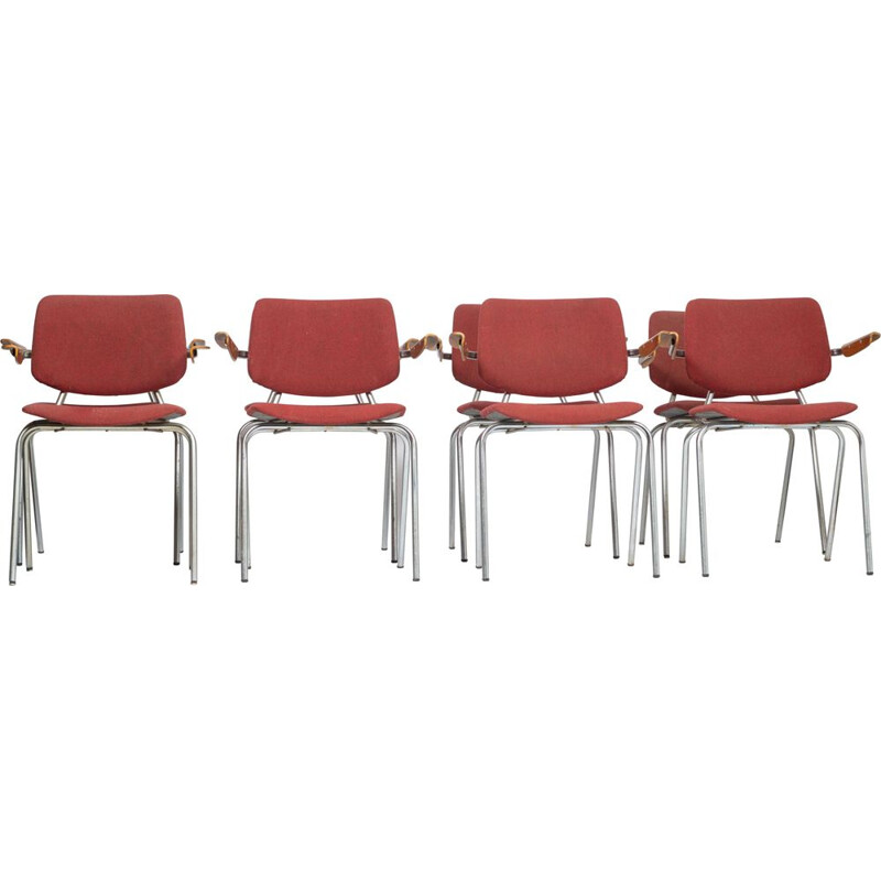 Set of 8 vintage chairs model 305 Kho Liang for CAR Katwijk 1957s
