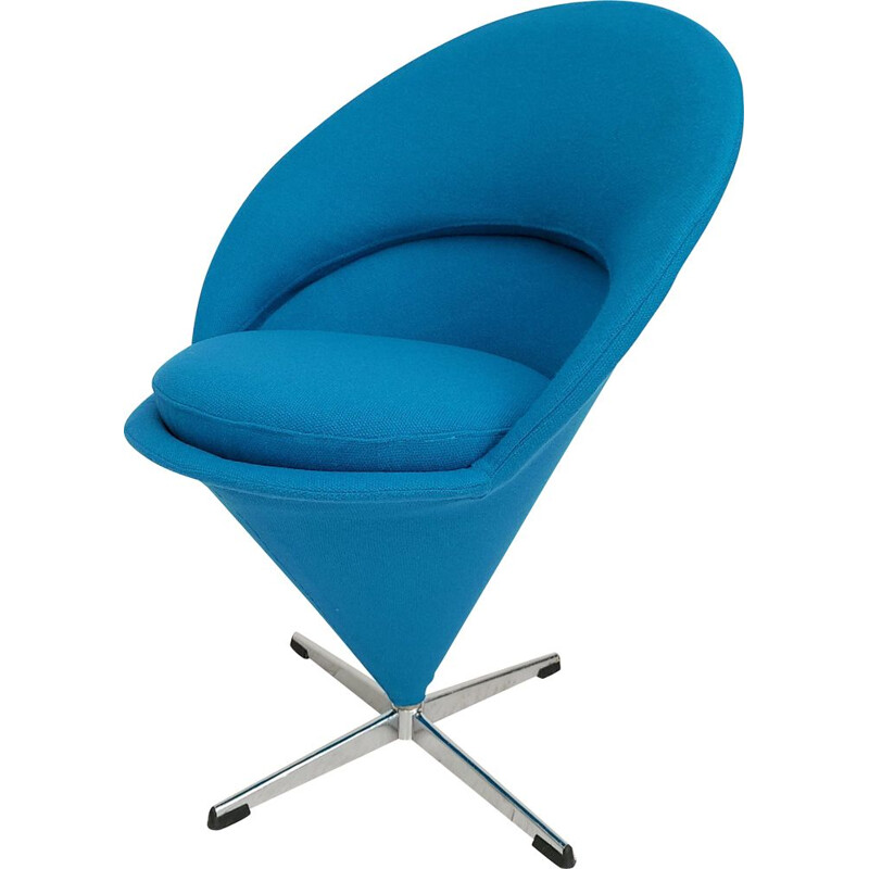 Vintage blue Cone chair by Verner Panton Danish 1970s
