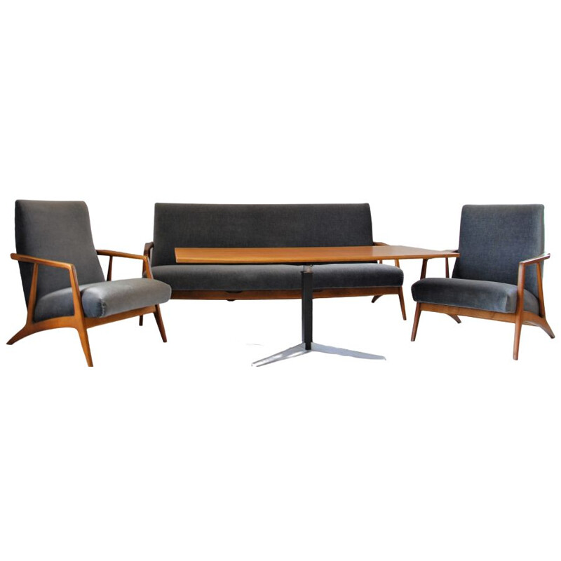Mid-Century Mohair Sofa, Armchairs & Adjustable Sofa Table from Wilhelm Renz, 1960s