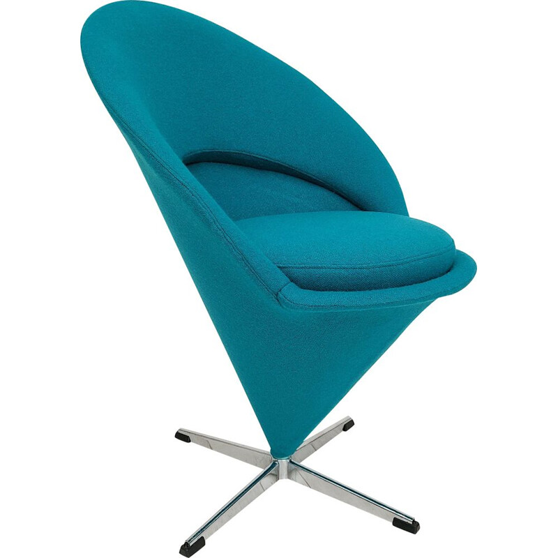 "Vintage turquoise blue ""Cone chair"" by Verner Panton Danish 1970s"