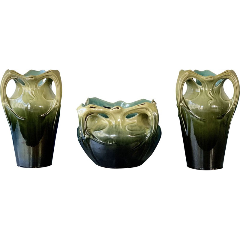 "Set of 3 glazed ceramic pot holders ""vase de Chalmont"" AG De Bruyn and Hector GUIMARD 1900"