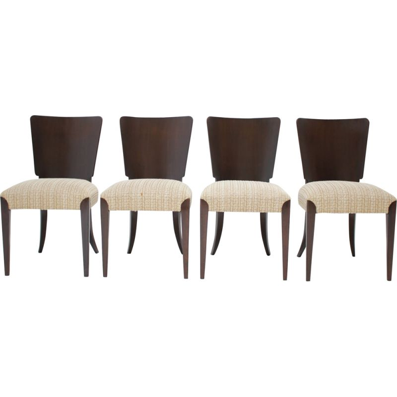 Set of 4 Vintage  dining chairs H-214 by Jindrich Halabala for UP Závody Art Deco