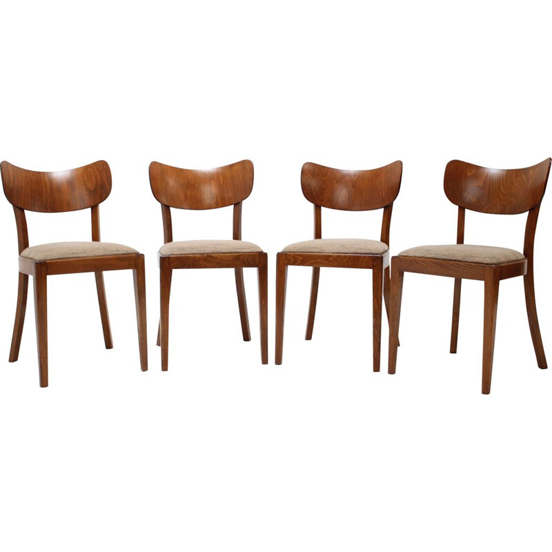 Set of 4 vintage dining chairs by Jindřich Halabala, 1960s