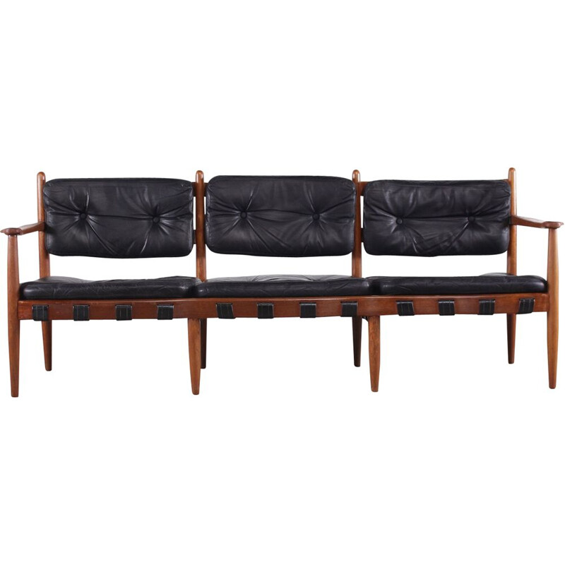 Vintage leather sofa Danish Merthen 1960