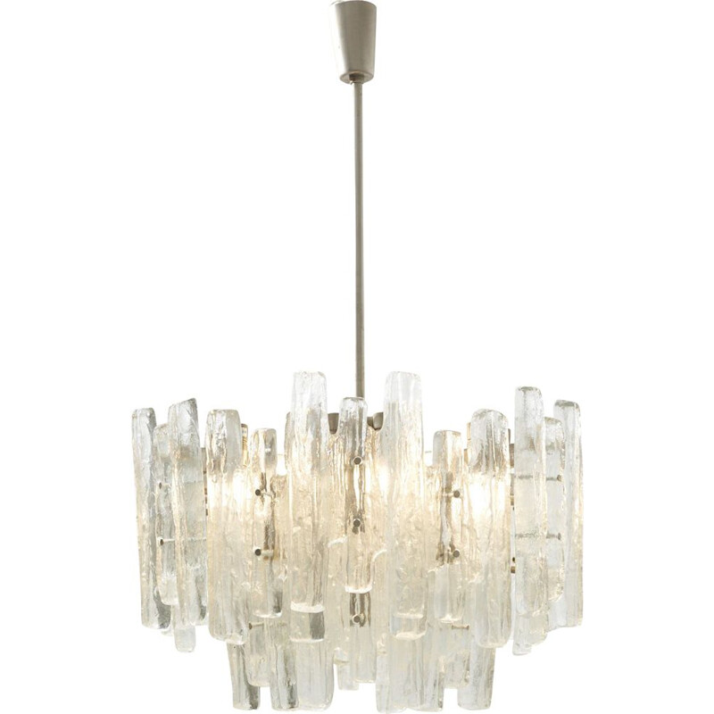 "Large vintage Glass Chandelier ""Sierra"" by J.T. Kalmar for Franken KG, Austria - 1960s"