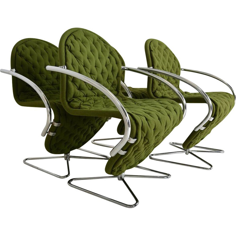 Suite of 4 vintage chairs 'System 123' by Verner Panton Fritz Hansen De Luxe Denmark 1970