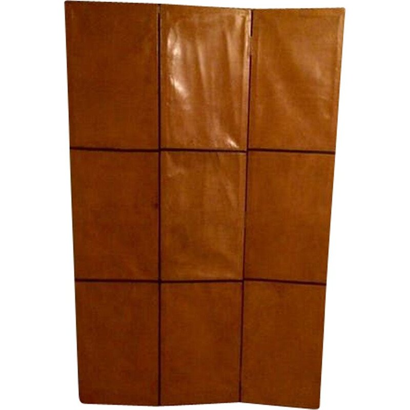 Vintage screen in wood with leather and studs