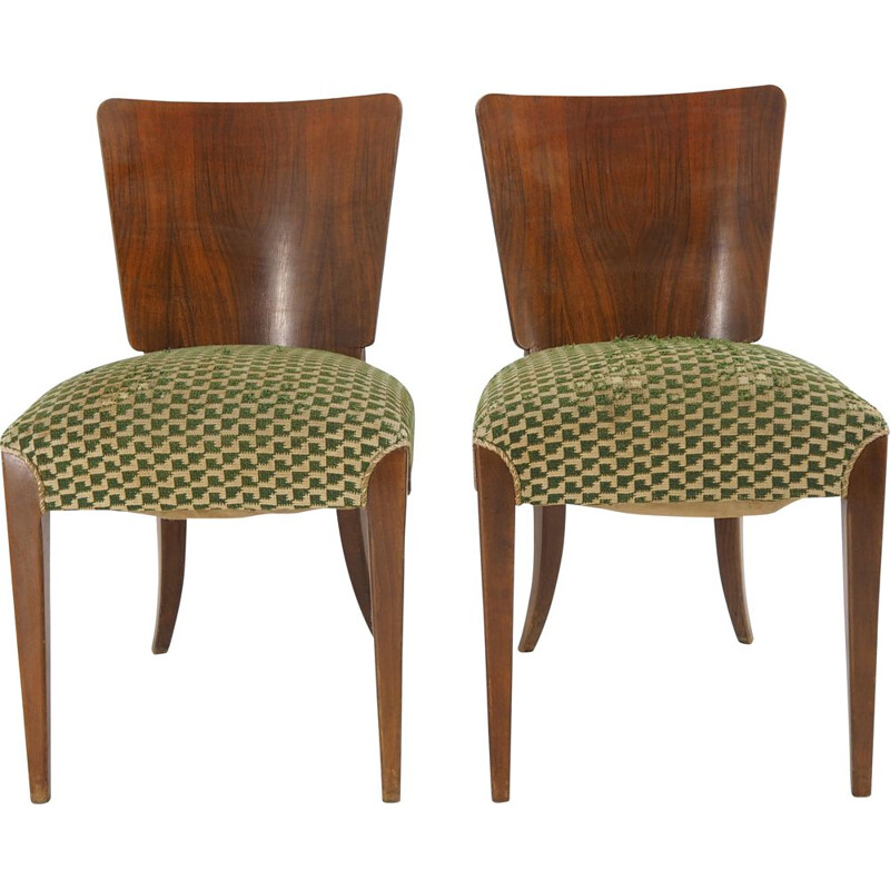 Pair of vintage Dining Chairs H-214 for UP Závody Art Deco Jindrich Halabala 1940s