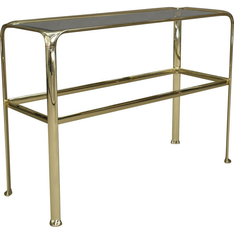 Vintage Console table in brass and glass by Mauro Lipparini Italy 1970