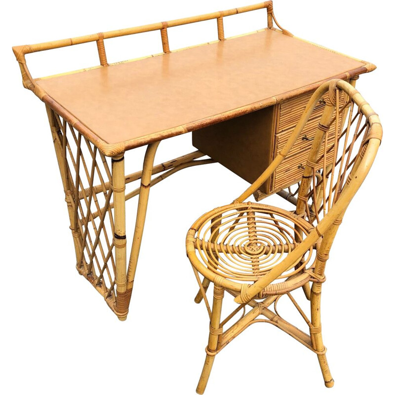 Vintage rattan desk and chair 1960