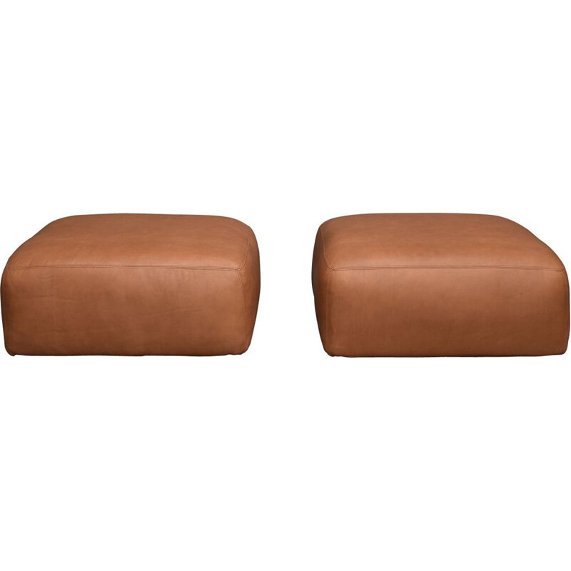 "Vintage Poufs ""Le Mura"" by in brownn Leather for Cassina, Italy - circa 1970"