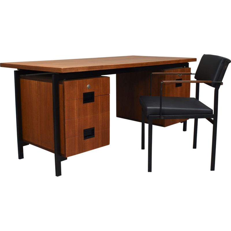 """Vintage Desk and Chair """"Japanese Series"""" by Cees Braakman for PASTOE, Netherlands - 1950s"""