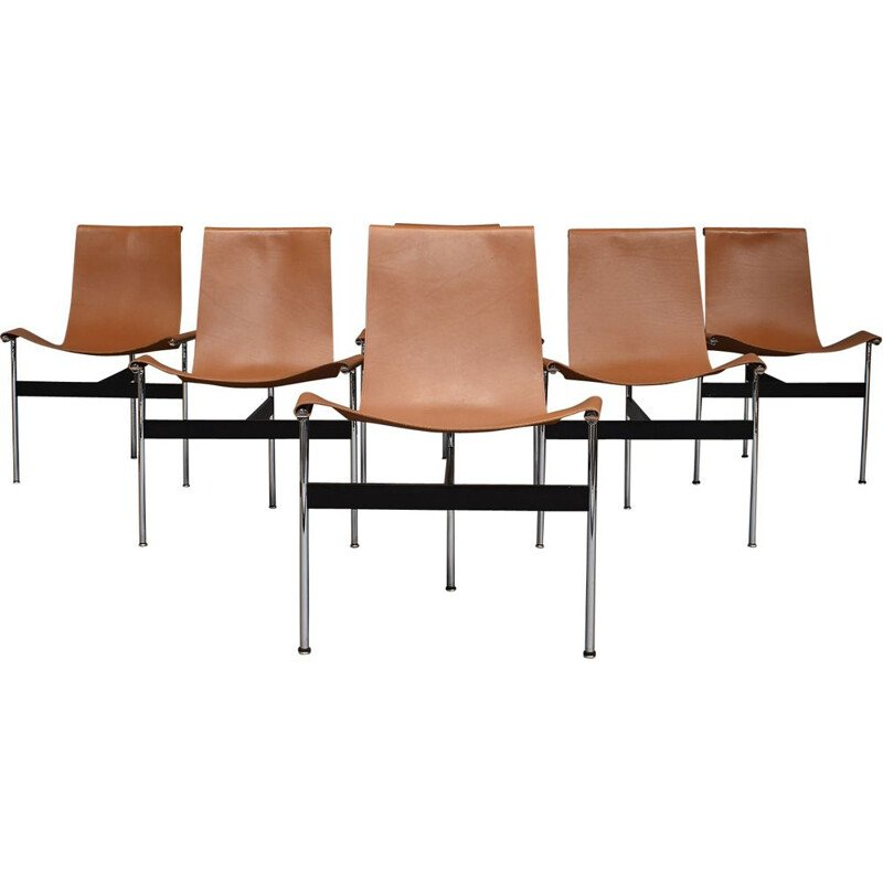 Set of 6 Katavolos T-Chairs in Tan Saddle Leather and Chrome, USA – 1952