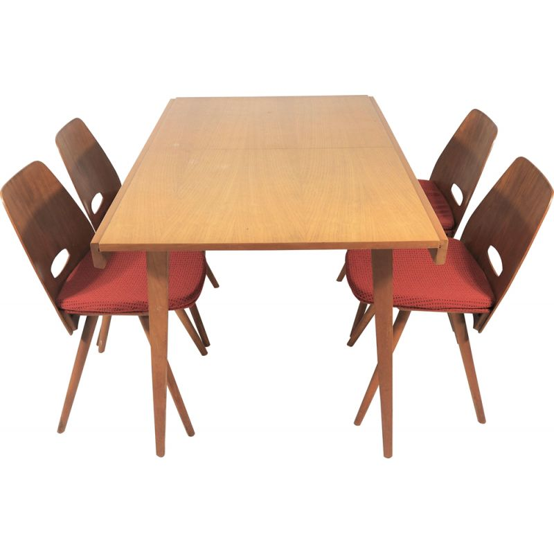 Set of 5 vintage Dining Chairs and Table Set from Tatra, 1970s