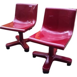Pair of Olivetti Synthesis pink chairs in aluminum and plastic, Ettore SOTTSASS - 1970s