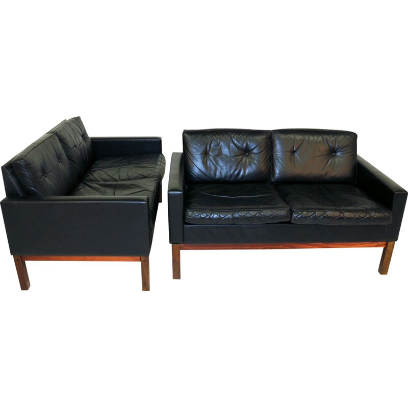 Pair of Vintage leather sofas, Sweden, scandinavian 1960