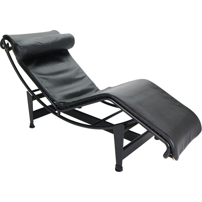 Vintage Chaise Lounge Chair by Cassina, Le Corbusier LC4 Black on Black  1970