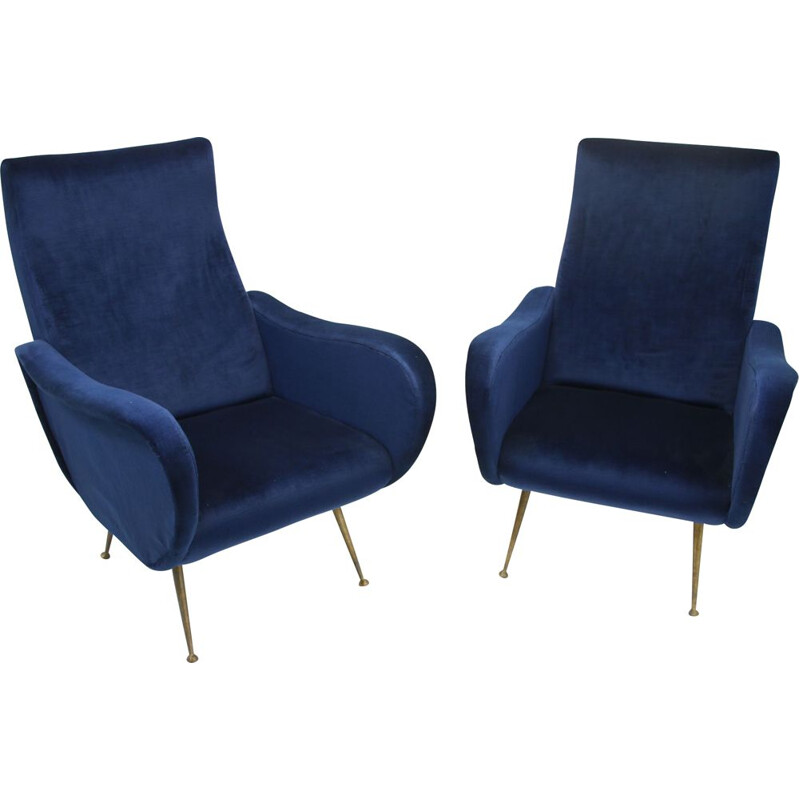 Set of  Marco Zanuso armchairs velvet blue