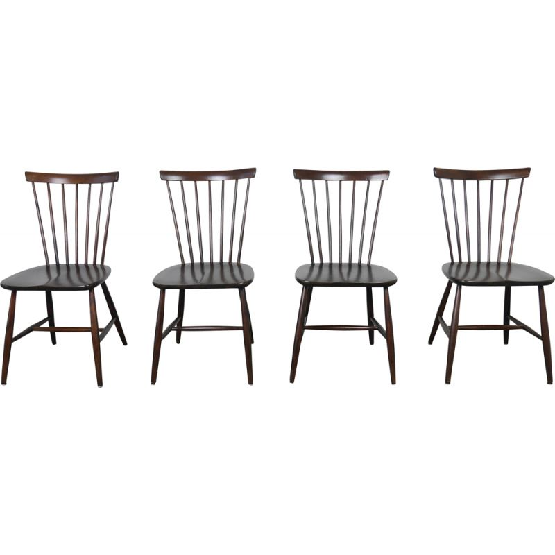 Dark Brown Wooden Dining Chairs, Black Wooden Dining Chairs Set Of 4