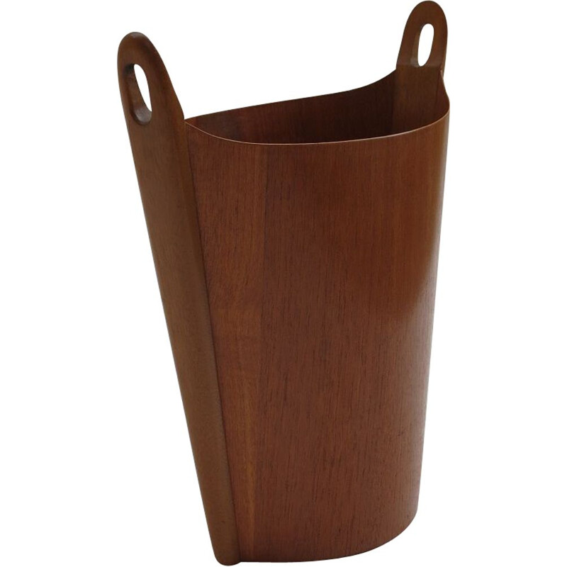 Midcentury Teak Waste Paper Bin  By Einar Barnes For P S Heggen Norway 1950s