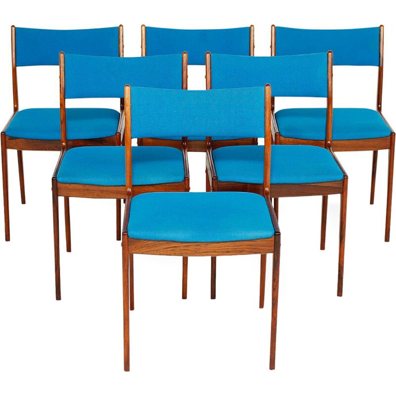 Set of 6  Vintage Johannes Andersen rosewood chairs Danish 1960s