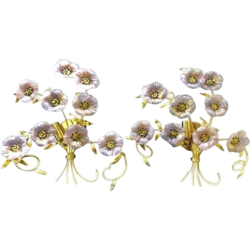 Pair of vintage wall lamps flower bouquet, Barovier and Toso 1980