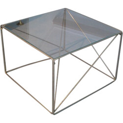 Cubic-shaped table in chromed steel, Max SAUZE - 1970s