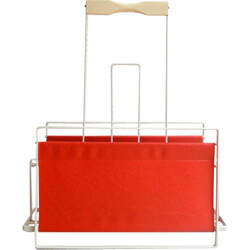 Magazine rack in metal and red leatherette - 1960s