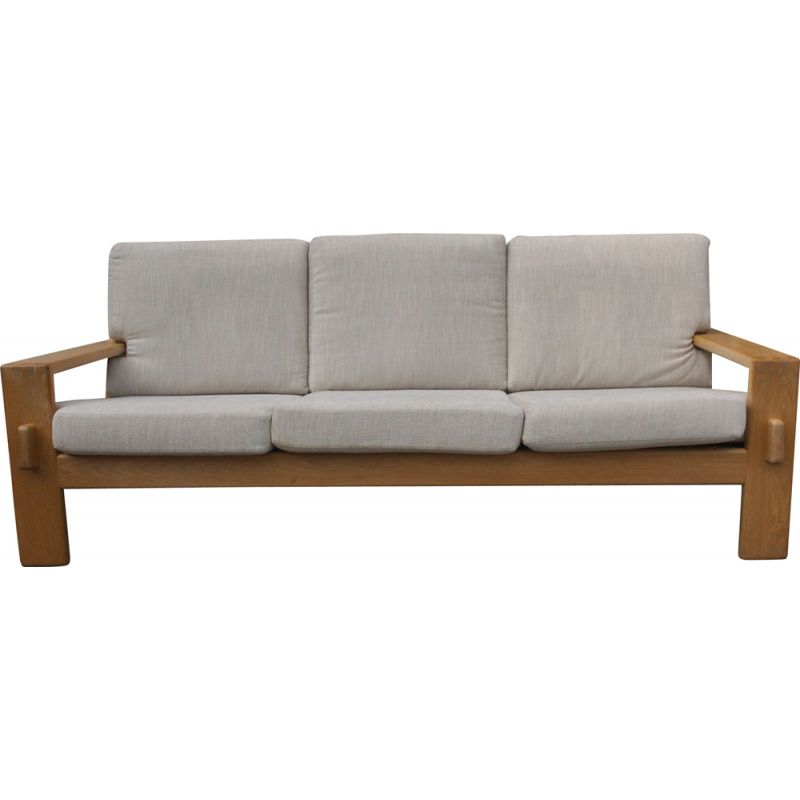 Vintage 3-Seater Sofa from E. Pajamies for ASKO in Oak 1970s