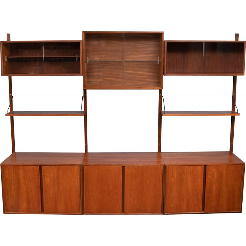 Midcentury Wall Mounted Shelving System by Poul Cadovius Danish 1960s