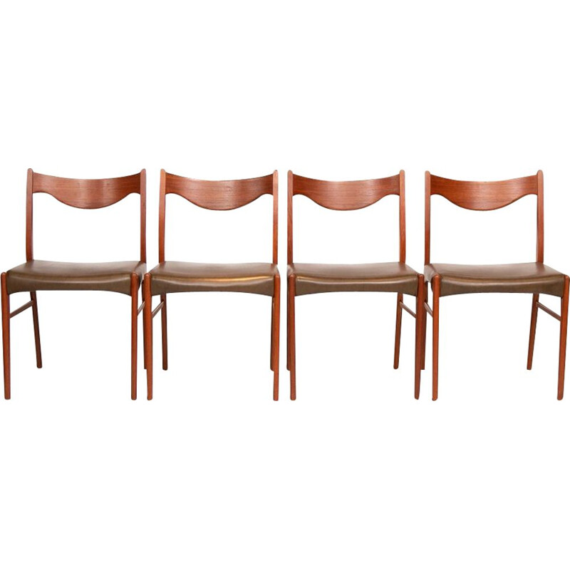 Set of 4 Midcentury Dining Chairs by Arne Wahl Iversen Danish 1960