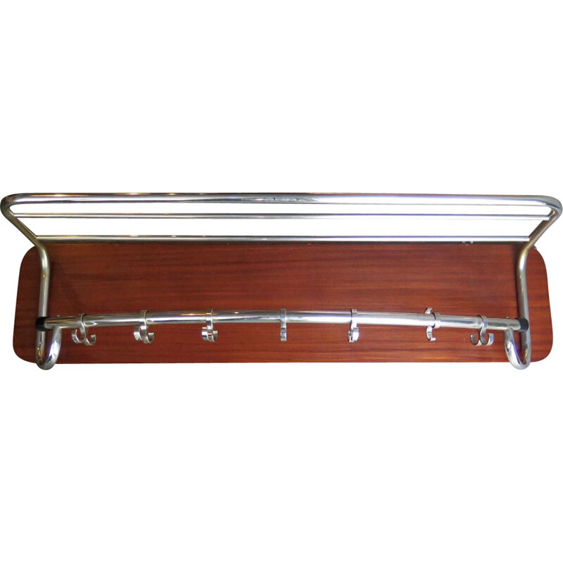Vintage large chrome rack in a wooden board, 1950s