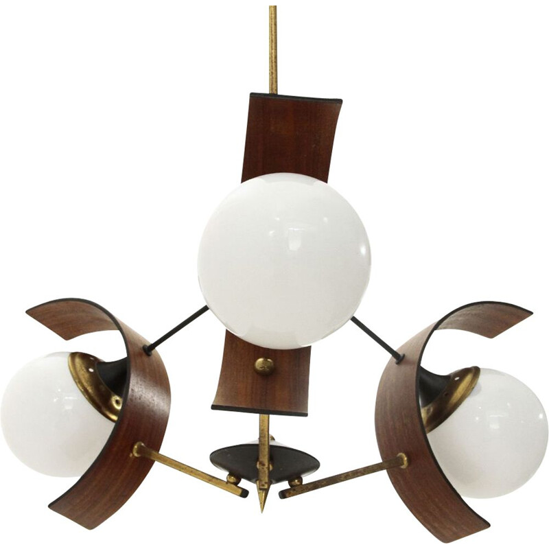 Vintage Chandelier with three diffusers in teak, brass and glass, 1960s