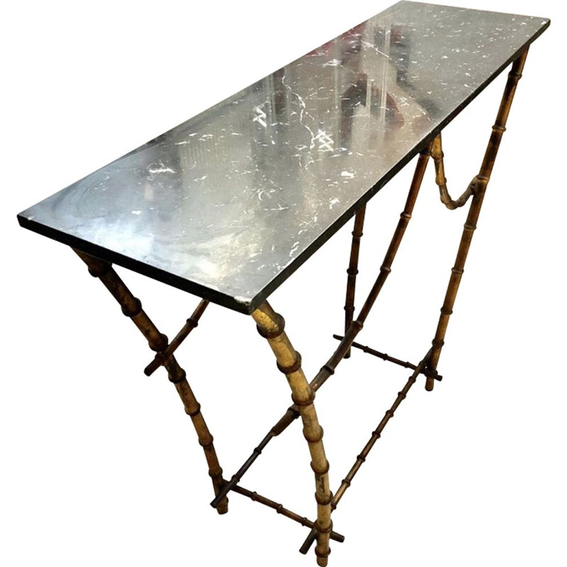 Vintage Console Table with Marble Top Gold Bamboo Pagode 1940s