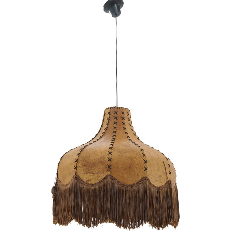 Large Midcentury Holland Sewn Ceiling Lamp Chandelier, 1970s